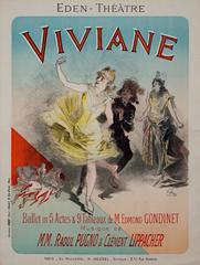 Viviane, Maindron (original color lithograph vintage poster)