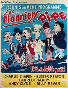 """""""Pioneers of Laughter,"""" Original Color Lithograph Vintage Poster"""