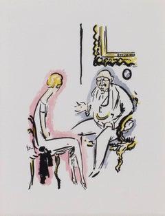 """Couple Conversing - La Garconne Series,"" Pochoir on paper by Kees van Dogen"