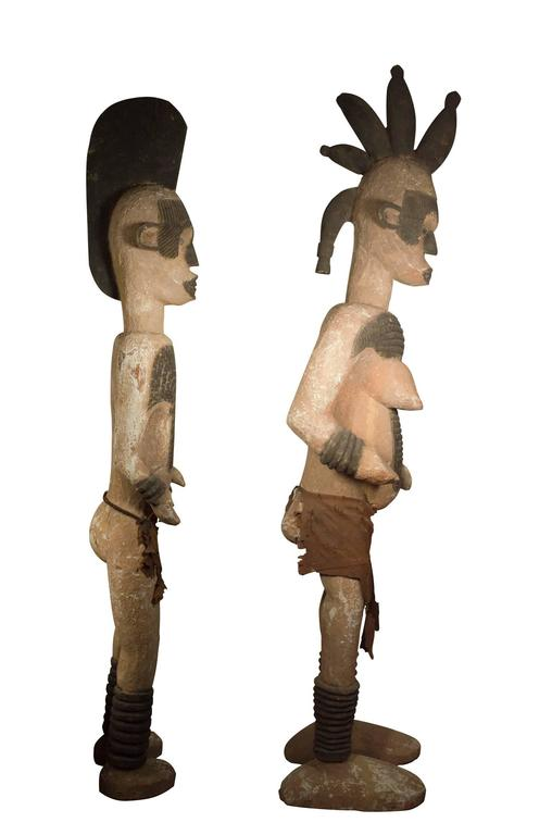Unknown - Pair Of Ibo Igbo Ancestral Figures, Wooden Statues, Nigeria -1773