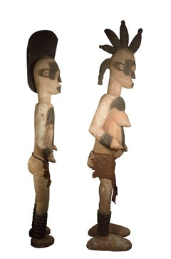 """""""Pair of Ibo (Igbo) Ancestral Figures,"""" two Wooden Statues from Nigeria"""