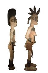 Pair of Ibo (Igbo) Ancestral Figures, Wooden Statues, Nigeria (Male and Female)