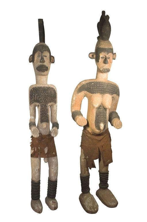 Unknown - Pair Of Ibo Igbo Ancestral Figures, Wooden Statues, Nigeria -9968