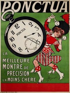 """Ponctua (Clock),"" Advertisement Vintage Poster signed by Rene Prejelan"