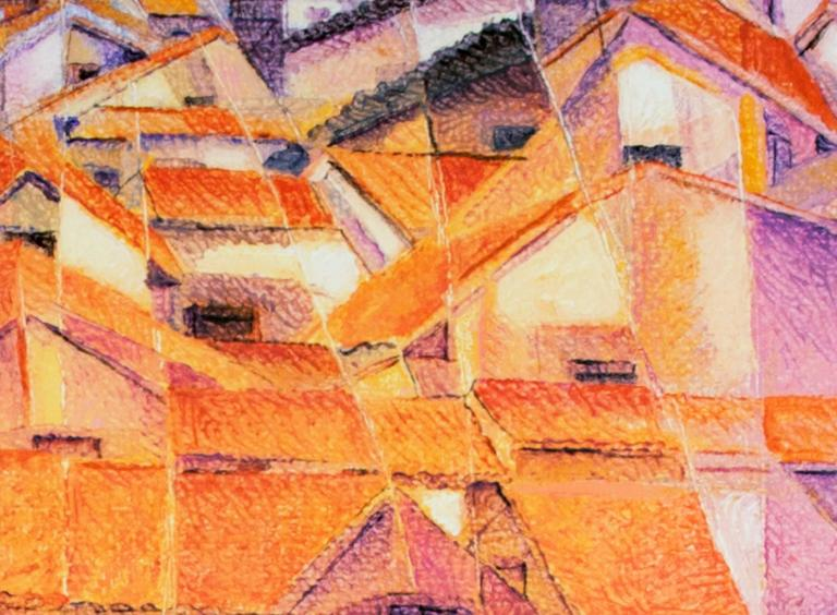 A giclee print on canvas by Peruvian artist Ernesto Gutierrez recalling the cubist movement.  Ernesto came to Milwaukee in the early 1970's under a Fullbright scholarship to get a masters degree in painting at the University of Wisconsin-Milwaukee.