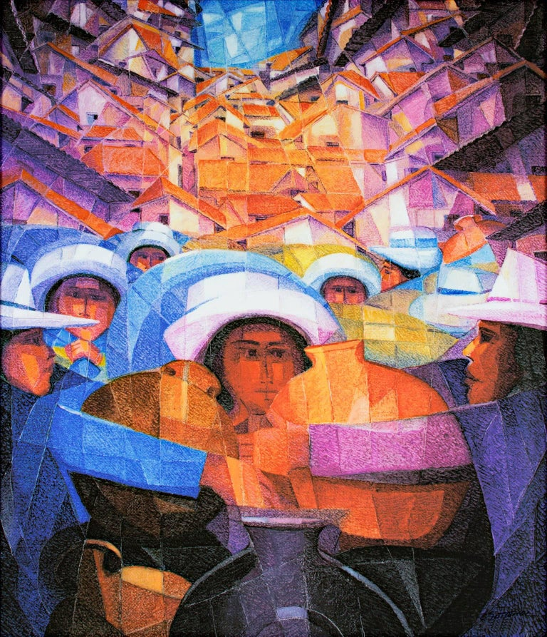 """Paisaje Andino,""a Vibrant Giclee Print on Canvas by Ernesto Gutierrez  - Art by Ernesto Gutierrez (b.1941)"