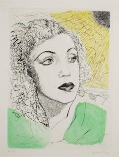 """Sheila,""  Etching and Aquatint in Color signed by Man Ray"