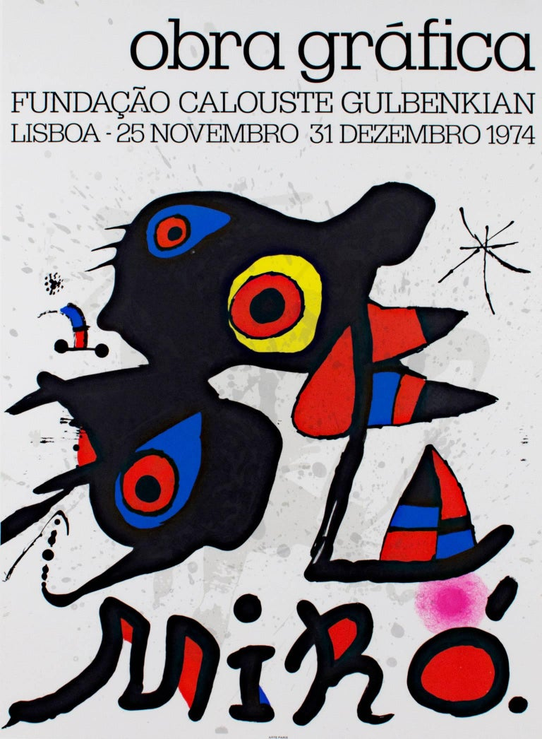 """""""Obra Grafica"""" original color lithograph poster in red, yellow and blue, by Joan Miro from the Foundation Calouste Gulbenkian, Lisbon, 1974.   26 3/4"""" x 19 1/2"""" art 36 1/2 x 28 1/4 gold frame"""