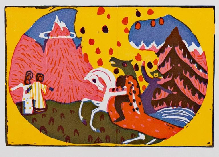Wassily Kandinsky Animal Print - Berge from Klange Series original color woodcut