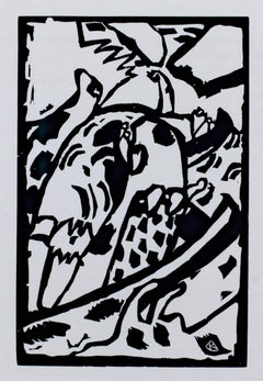 """Improvisation,"" Black & White Abstract Woodcut by Wassily Kandinsky"
