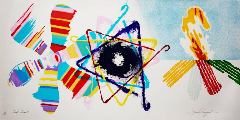 James Rosenquist Abstract Print - Fast Feast (Abstract geometrical multicolored lithograph from 1977)