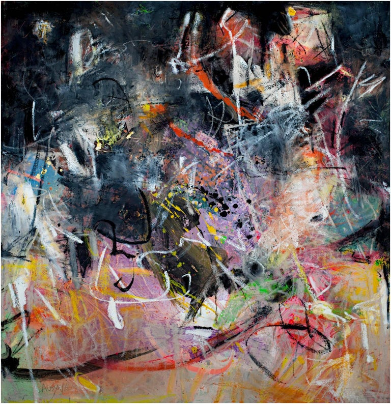 """""""Always Dancing"""" is an abstract oil on canvas painting by Alayna Rose.  42"""" x 40"""" canvas  Alayna Rose is a painter, jewelry designer and former illustrator. Alayna paints with watercolor, oil, acrylic and mixed media on paper and canvas. Her"""