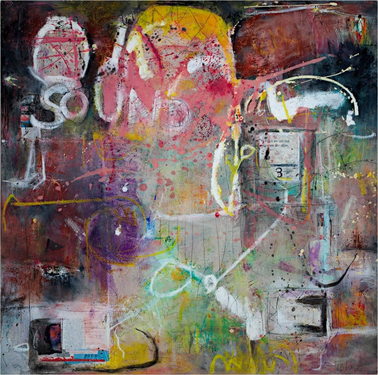 """Alayna Rose """"Sound"""" 40"""" x 40"""" Mixed media on canvas  Alayna Rose is a painter, jewelry designer and former illustrator. Alyana paints with watercolor, oil, acrylic and mixed media on paper and canvas. Her influences include De Kooning, Diebenkorn,"""