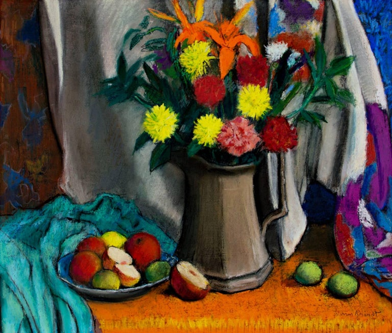 """""""Grey Pitcher"""" is a pastel still life by American artist Warren Brandt created in 1986. Brightly colored flowers and apples are the main focus of this pastel.  19 3/4"""" x 22 1/2"""" art 28"""" x 31 1/8"""" framed  """"Mr. Brandt was born in Greensboro, N.C., and"""