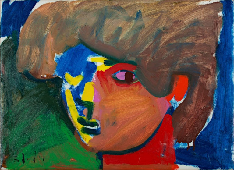 """Pan"" is a fauvist-expressionist-figurative oil on canvas painting by American artist Matthew Schaefer. Primary colors of red, yellow, and blue fill the figure with brown hair and is depicted against a green and blue background.  Signed lower"
