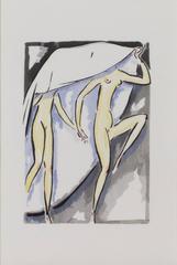Two Women -La Garconne Series (Deux Femmes) color pochoir