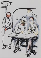 In the Cafe -La Garconne Series (Dans le cafe) color pochoir