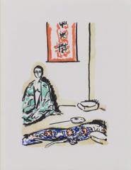 The Green Kimono -La Garconne Series (Le Kimono Vert) color pochoir