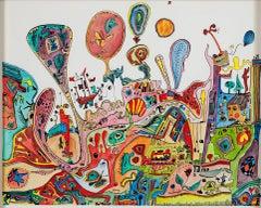 """Underground Movies,"" a Multicolored Watercolor & Ink Artwork by Joseph Rozman"