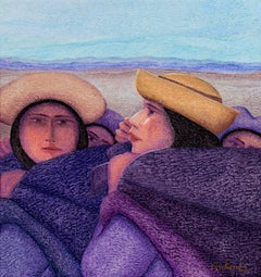 """""""Dos Madres (Two Mothers),"""" an Oil on Jute signed by Ernesto Gutierrez"""