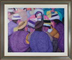 """Ferria De Sombreros (The Hat Market),"" Oil on Jute by Ernesto Gutierrez"