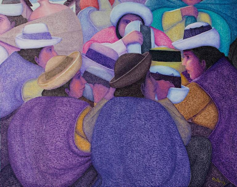 Ferria De Sombreros (The Hat Market) oil on jute