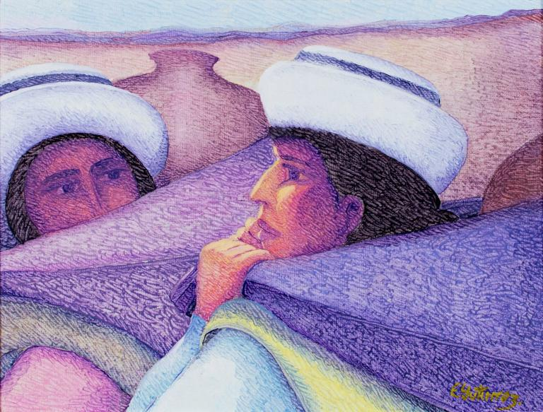 Dos Mujeres (Two Ladies) oil on jute