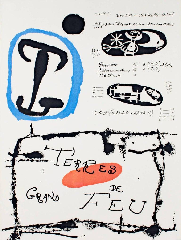"""Joan Miró Abstract Print - """"Derrière le Miroir, Terres de Grand Feu"""" Original Color Lithograph by Joan Miro"""