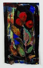 Red Flowers (mixed media on paper, framed)