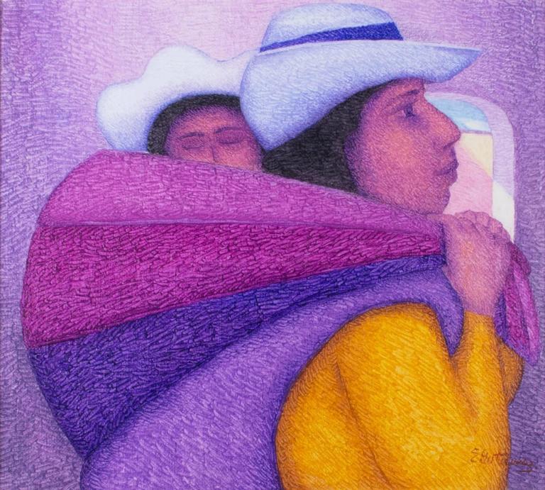 Dora Y Su Bebe (oil on jute canvas)