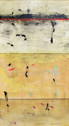 """Shibumi X-15,"" a Yellow Abstract Mixed Media signed by John Baughman"