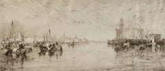 """The Harbor of Vera Cruz Mexico (Klackner 53)"" an etching signed by Thomas Moran"