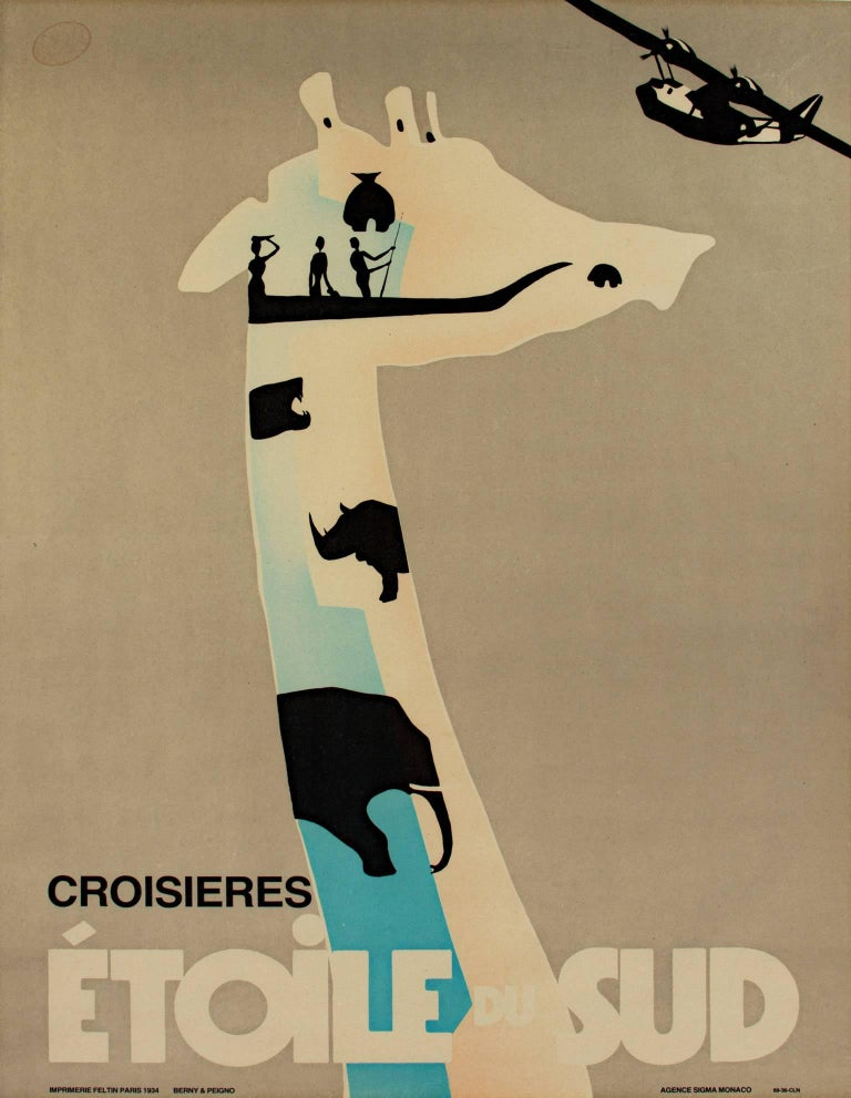 """""""Croisieres Etoile Du Sud""""; is an original lithograph poster by Berny Et Peignot depicting multiple animal silhouettes in blue, tan, and black. 1934.  34.9375"""" x 25.9375"""" art 37.75"""" x 28.875 framed  This image was created for this poster in 1934 and"""