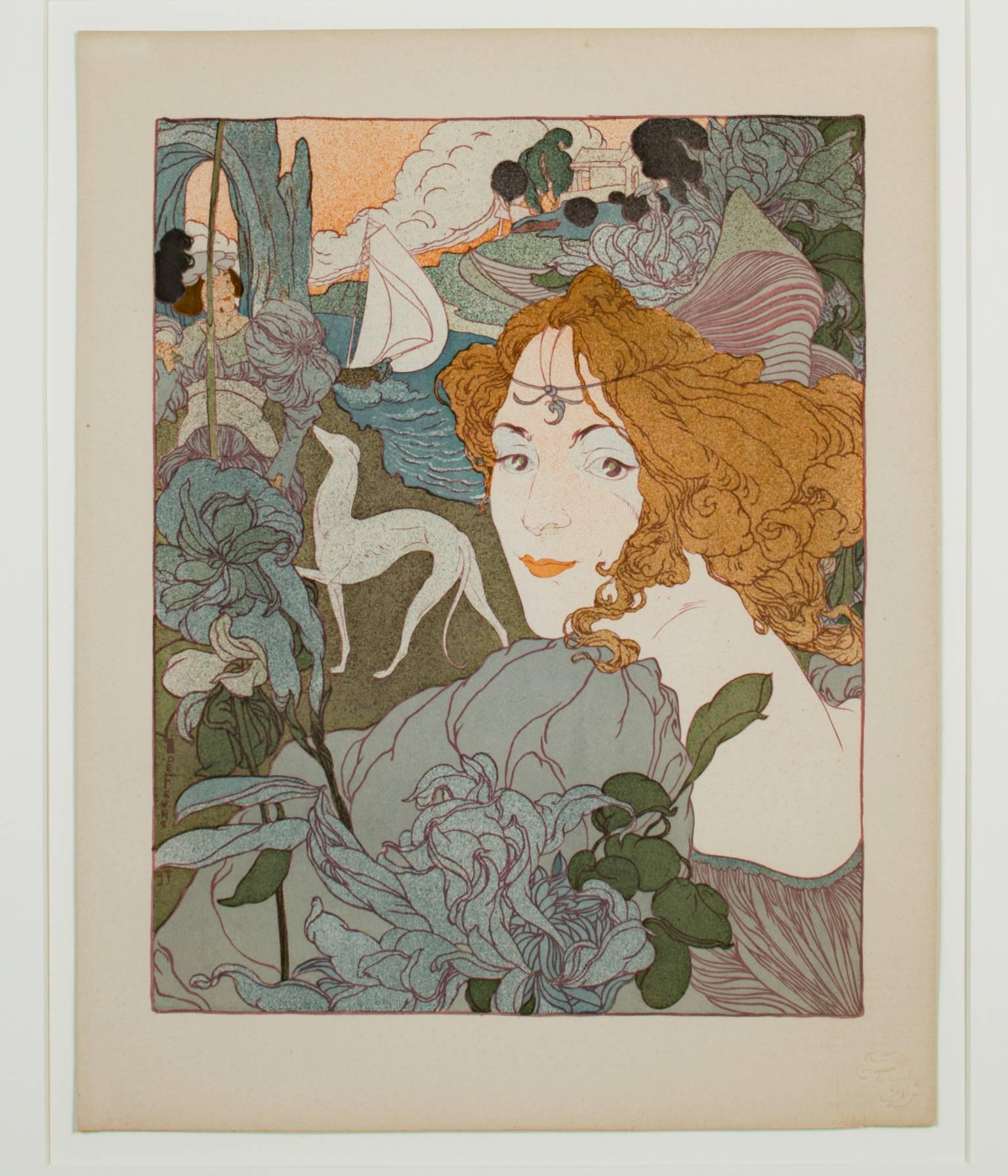 """""""Retour (L'Estampe Moderne I)"""" an Original Lithograph signed by Georges De Feure"""