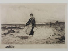 """The Fisherman's Catch,"" an Etching signed by James Fagan"