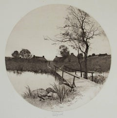 """The Boat House,"" an Etching signed by Edward Loyal Field"