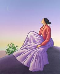"""New Dawn,"" original figurative color lithograph by R.C. Gorman"