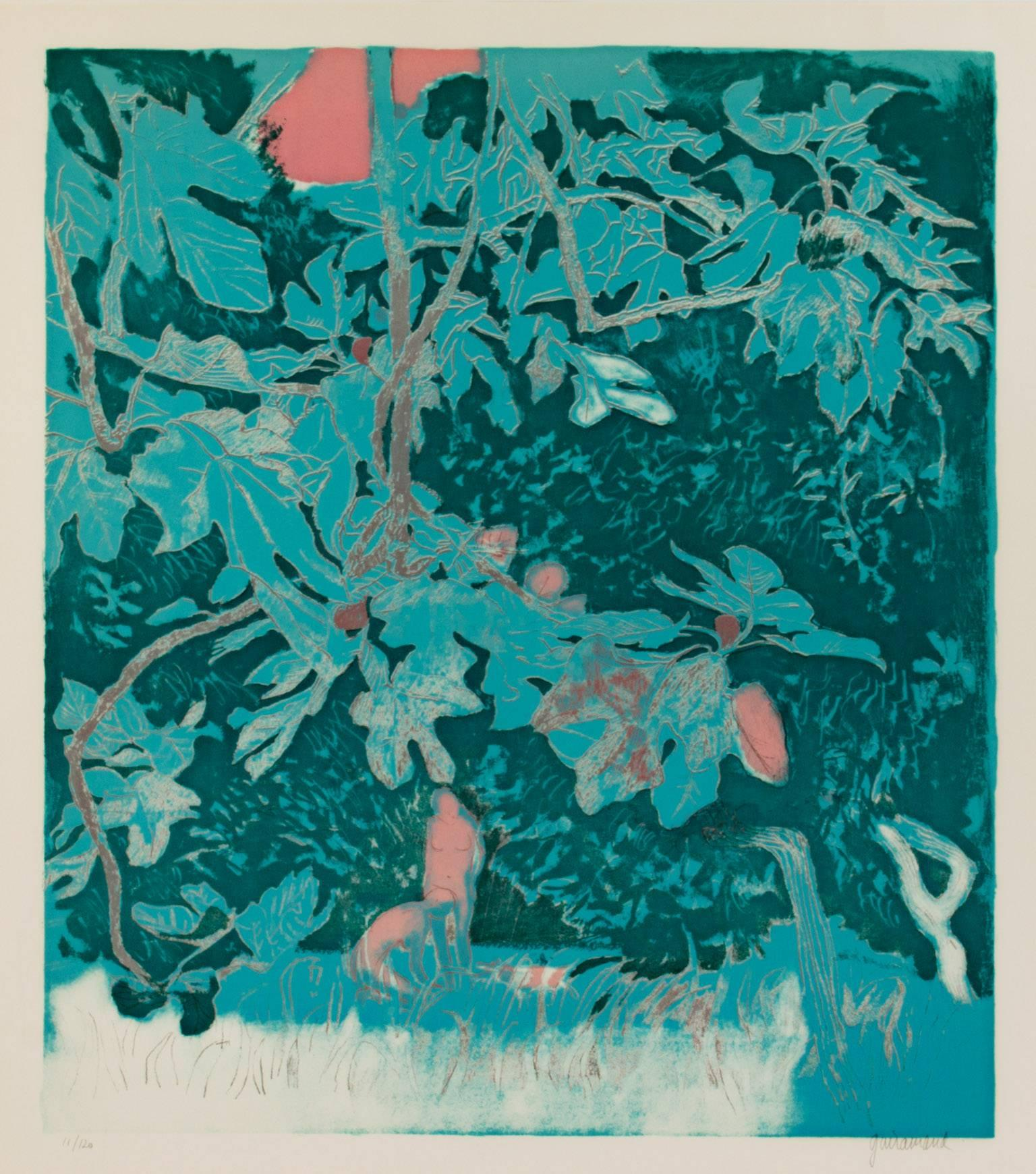 """""""Fig Trees-Antibes,"""" Color Lithograph signed by Paul Guiramand"""
