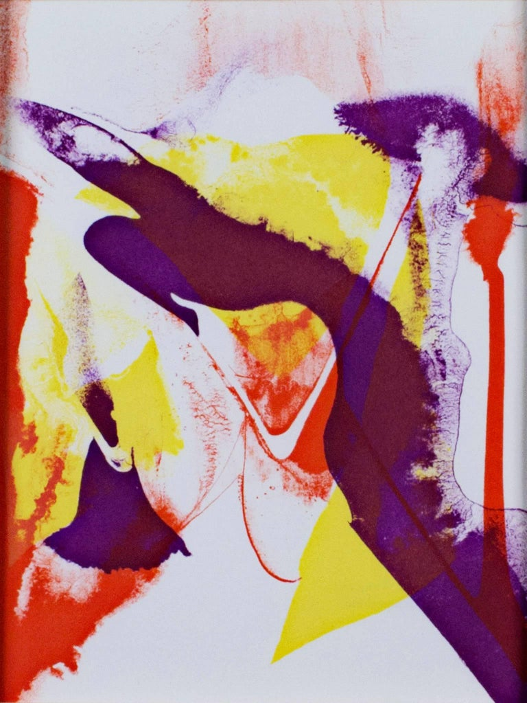 """""""Composition"""" is an abstract lithograph in purple, red, and yellow by Paul Jenkins.   10"""" x 7 1/2"""" art 20 1/2"""" x 18"""" framed  Paul Jenkins was a monumental figure of American Abstract Expressionism. By pouring the paint onto his canvas, he"""