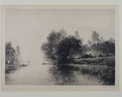"""Farm at Inlet,"" an Etching signed by Thomas R. Manley"