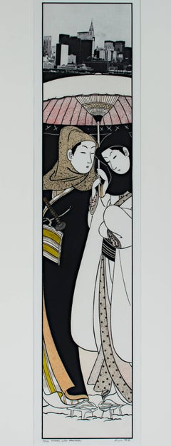 """Lovers After Harunobu (Japanese Suite),"" a Lithograph signed by Michael Knigin"