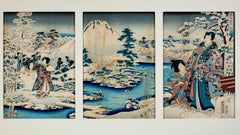 """Gengi Prince and Beauties in the Snow Garden,"" Color Woodcut by Hiroshige"