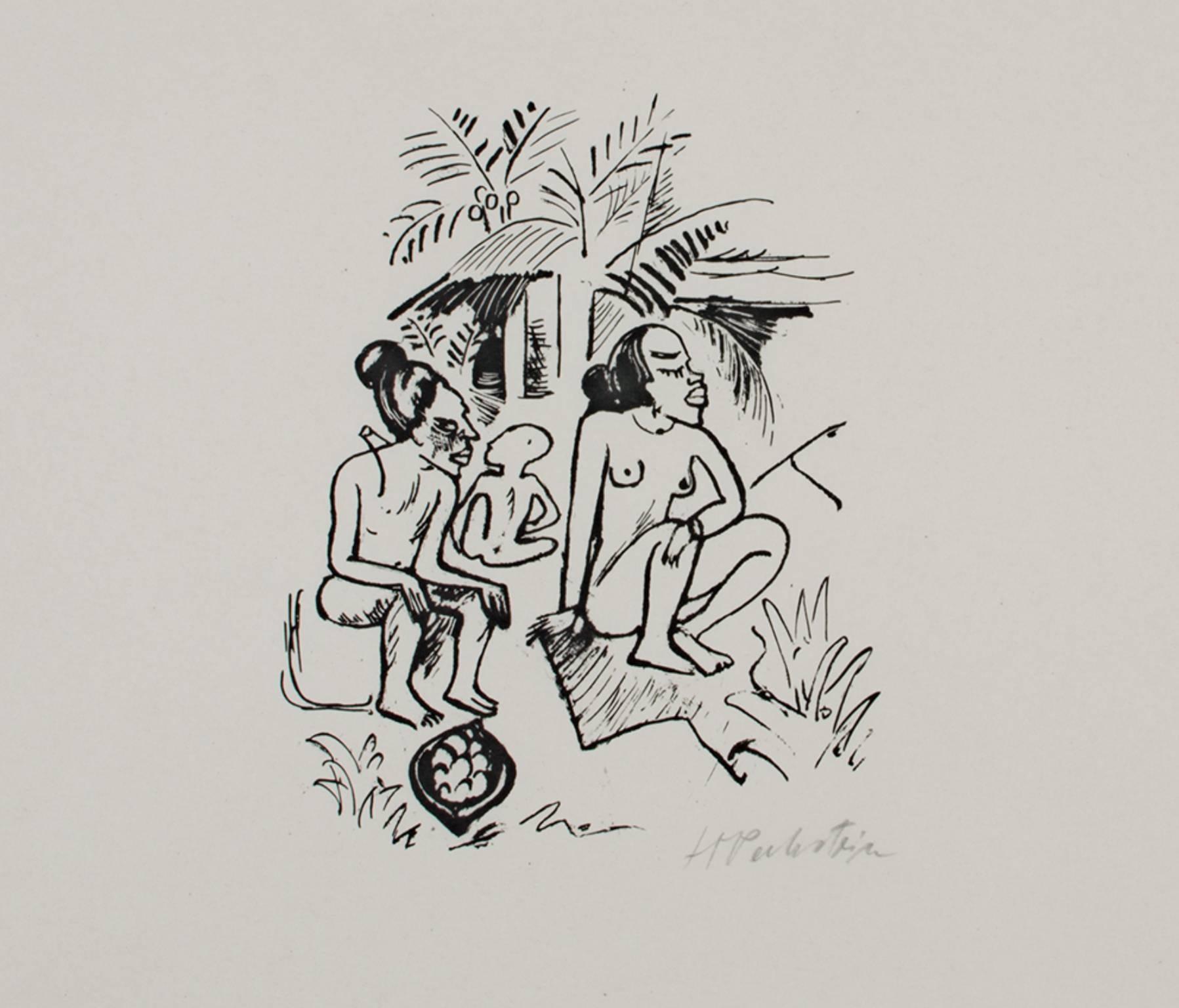 """South Sea (Sudsee) Series: Three Seated Figures- Women (Frauen),"" an Original"