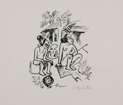 """South Sea (Sudsee) Series: Three Seated Figures- Women (Frauen),"" an Original"
