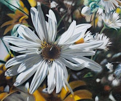 """Untitled (Daisy Close Up),"" Pastel on Paper signed by James Ruby"