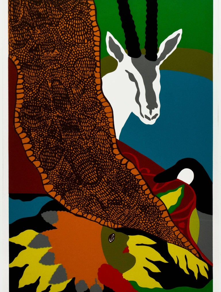 """""""Anaconda II"""" is an original color serigraph signed in the lower center by the artist Hunt Slonem. This is from an edition of 3.   26 3/4"""" x 18 1/4"""" image 29 3/4"""" x 21 3/4"""" paper 34 7/8"""" x 26 3/8"""" frame  Hunt Slonem is an American painter, sculptor,"""
