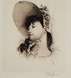 """Young Girl With Hat,"" an Etching signed by Frederick M. Spiegle"