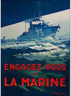 """""""Engagez-Vous Dans La Marine,"""" an Original Lithograph signed by A. Theunissen"""