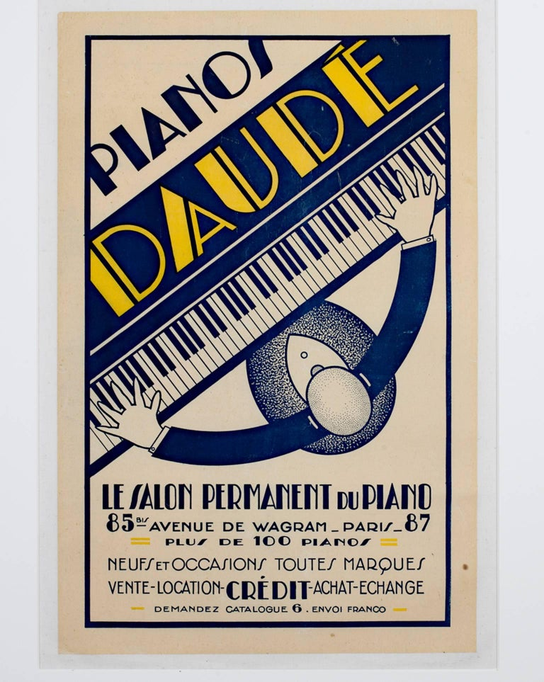 """""""Pianos Daude"""" is an original color lithograph poster. This poster showcases an aerial view of a man in a suit playing a piano. The text and design of the poster is in an art deco style.   16 1/2"""" x 10 5/8"""" art 27 3/4"""" x 22 1/4"""" framed  Pianos Daude"""