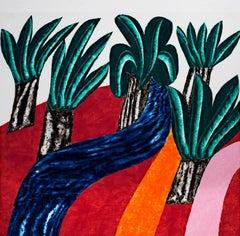 """Wild Palms,"" a Colorful Woodcut signed by Carol Summers"
